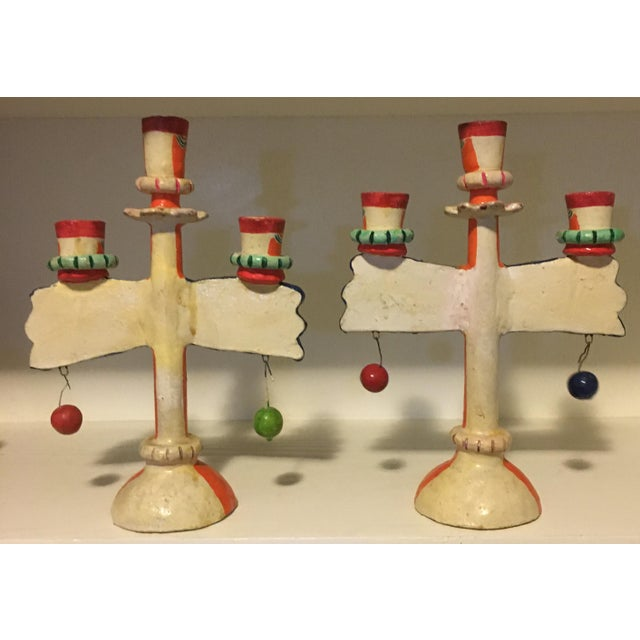 Ceramic Vintage Mexican Pottery Folk Art Candle Holders Trees of Life - a Pair For Sale - Image 7 of 9