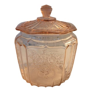 1920s Anchor Hocking Mayfair Open Rose Cookie Jar For Sale