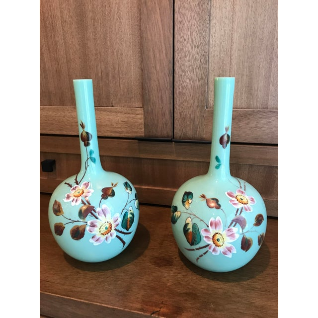 Vintage Hand Painted Glass Vases A Pair Chairish