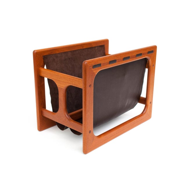 Danish Modern Salin Møbler Teak and Leather Magazine Rack For Sale - Image 9 of 9