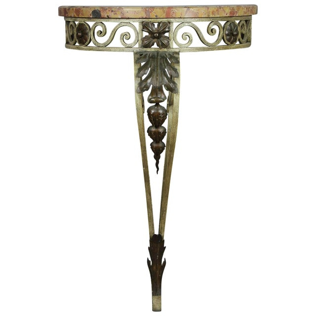 Metal Louis XVI Style Wrought Iron and Marble-Top Petite Demilune Console Table For Sale - Image 7 of 7