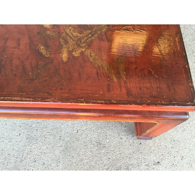 Mid-Century Red Lacquer Chinese Style Coffee Table - Image 4 of 7
