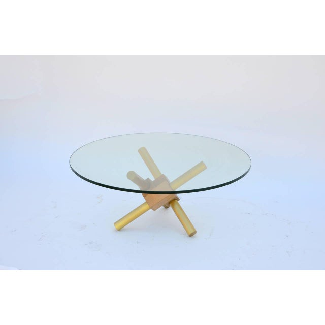 Small Round Tripod Brass and Glass Coffee Table For Sale In Los Angeles - Image 6 of 7