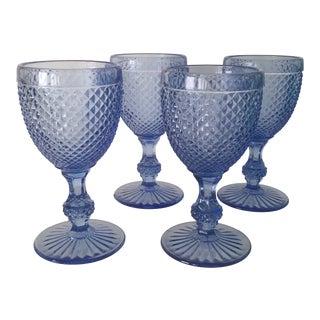 Vintage English Hobnail Water Goblets - Set of 4