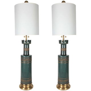 1950s Marbro Jade Green Ceramic Lamps - a Pair For Sale