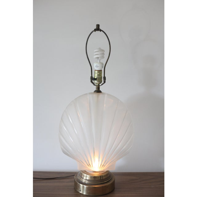Frosted Glass Clam Shell Lamp With Brass Base - Image 3 of 6