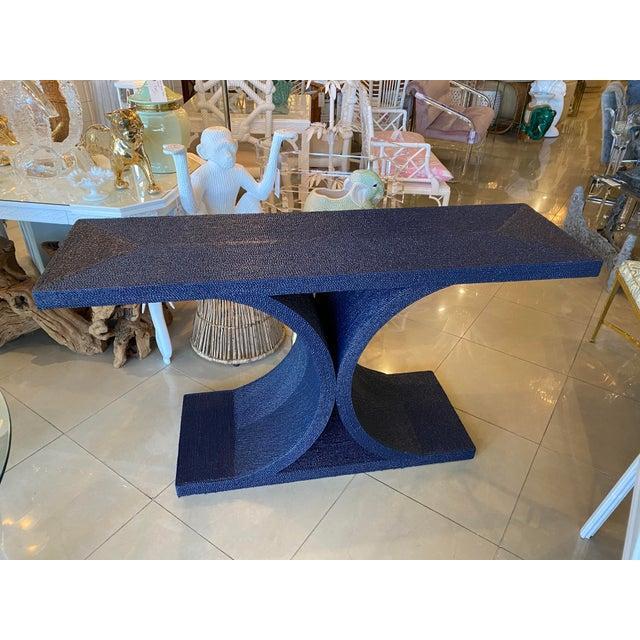 Karl Springer Vintage Karl Springer Style Navy Blue Lacquered Rope Console Table For Sale - Image 4 of 13