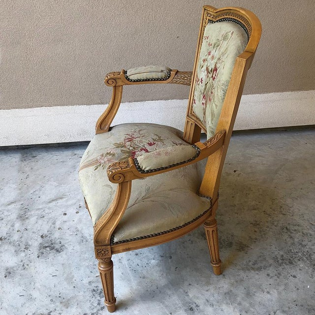 Pair of Louis XVI French Aubusson Tapestry Fruitwood Armchairs For Sale In Dallas - Image 6 of 13