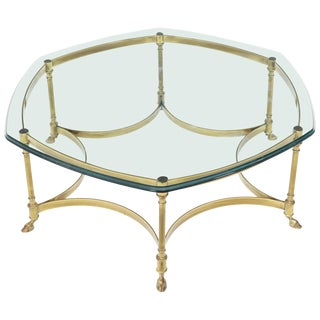 Hexagon Shape Glass Top Brass Frame Hoof Feet Coffee Table For Sale