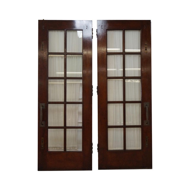 Vintage mahogany double french doors a pair chairish for Purchase french doors
