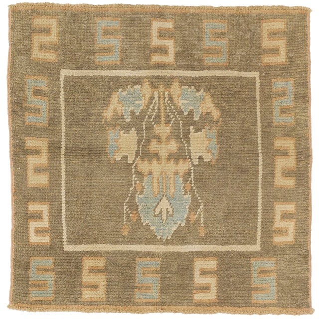 Turkish Donegal Blue & Beige Botanical Rug-4′ × 4′ For Sale