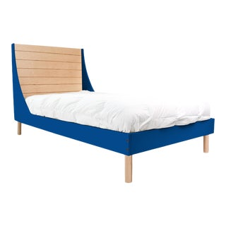 Nico & Yeye Minimo Twin Panel Bed Solid Maple Wood and Veneers Natural Maple and Pacific Blue For Sale