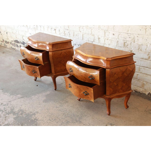 Brown Inlaid Italian Bombay Chest Nightstands - a Pair For Sale - Image 8 of 12