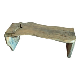 Green Live Edge Solid Teakwood Bench For Sale