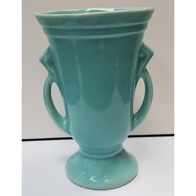 Ceramic 1930's American Art Deco Turquoise Double Handled Vase For Sale - Image 7 of 7