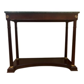 Neoclassical Bombay Company Green Marble Top Hall Console For Sale