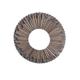Reclaimed Wood Round Mirror For Sale
