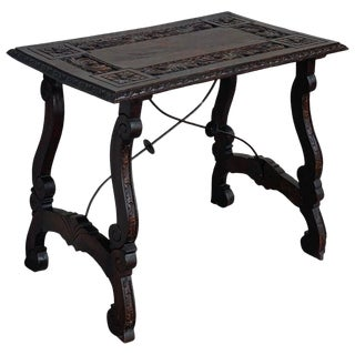 19th Century Spanish Baroque Side Table With Carved Top & Legs & Iron Stretchers For Sale