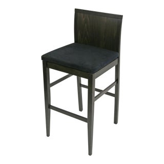 Italian Barstool by Idealsedia Dark Wenge Wood Finish With Black Upholstery