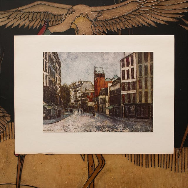 """French 1950s Maurice Utrillo, First Edition Period Lithograph """"Rue Des Abbesses"""" For Sale - Image 3 of 8"""