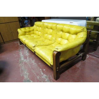 Vintage Mid Century Modern 3 Seat Gold Vinyl Sofa Preview