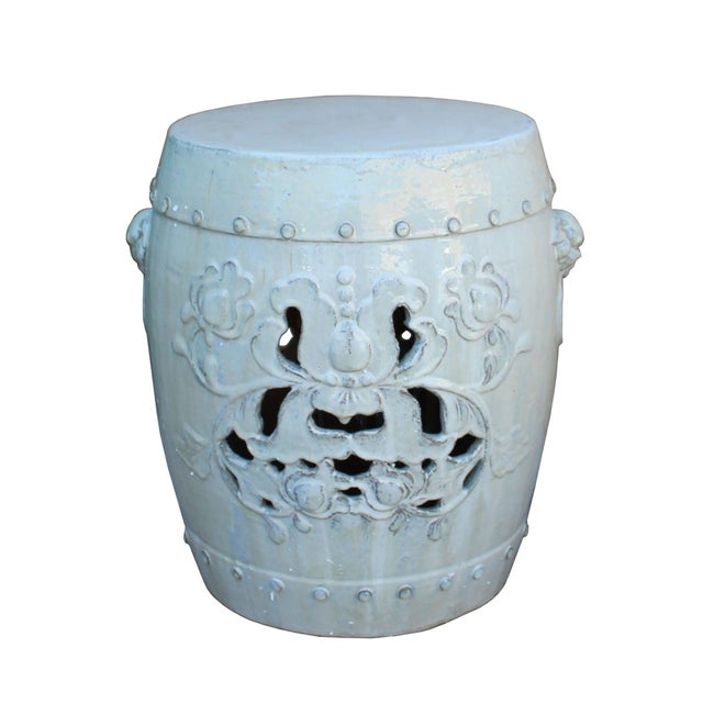 Chinese Off White Round Lotus Clay Ceramic Garden Stool Table For Sale - Image 4 of 6