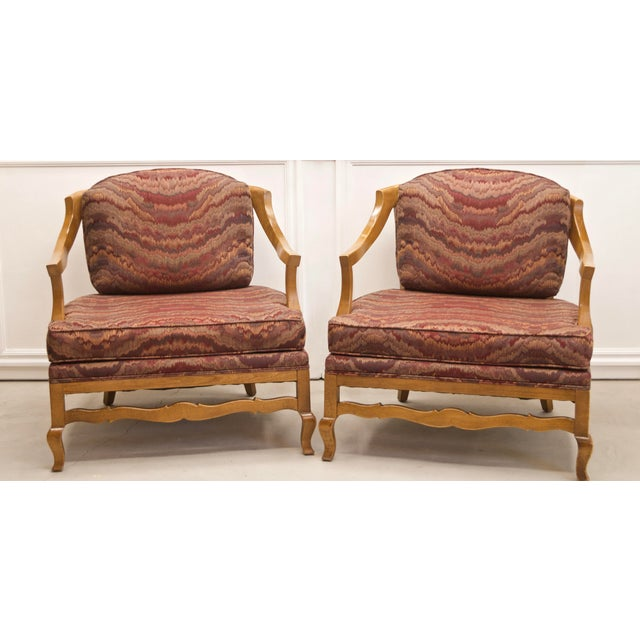 Contemporary Vintage Burgundy Flame Wood Low Profile Chairs with Cane Back - a Pair For Sale - Image 3 of 9