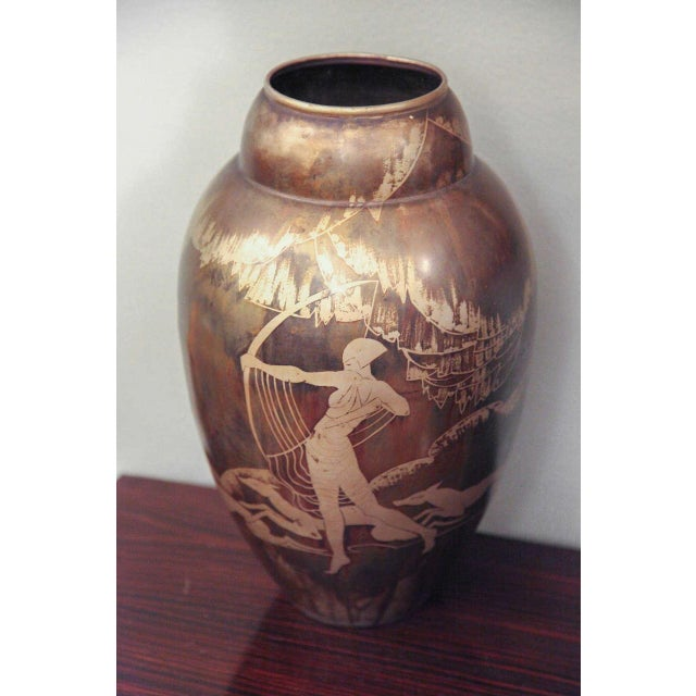 Brown Art Deco Dinanderie Vase by Mergier For Sale - Image 8 of 8