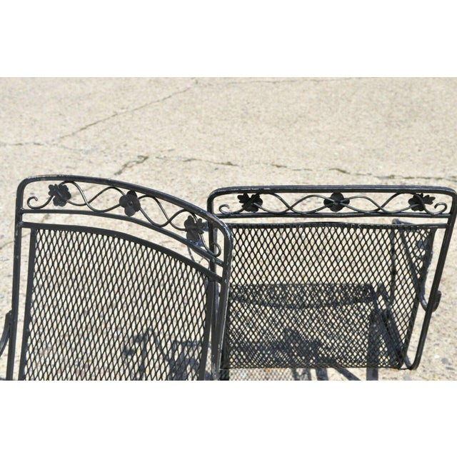 Metal Vintage Mid Century oodard Wrought Iron Patio Bouncer Lounge Arm Chairs- A Pair For Sale - Image 7 of 12
