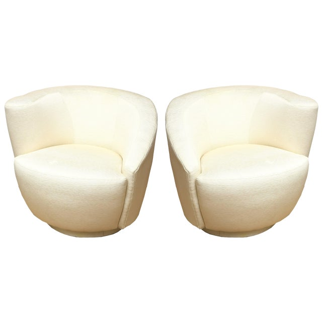 "1970s Vintage Vladimir Kagan"" Nautilus"" Swivel Lounge Chairs- A Pair For Sale"
