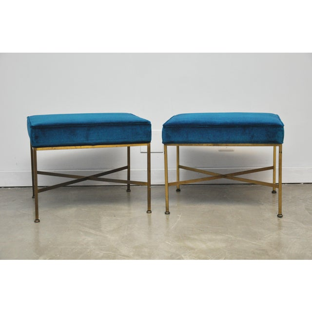 Pair of brass X-base stools Paul McCobb for Calvin Furniture. New cushions and upholstery over brass bases with nice...