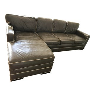 Leather Sage Green With Cream Piping 2-Piece Sectional Sofa
