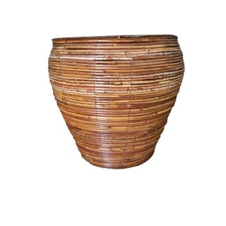 Franco Albini Style Stacked Stick Rattan Planter For Sale