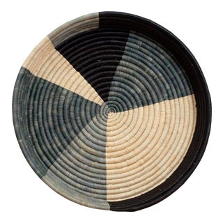 Opal Gray Color Blocked Raffia Tray For Sale