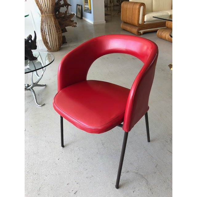 Twelve Mid-Century Modern dining chairs attributed to Italian designer Gastone Renaldi for Rima. Circa 1960's. Scarlet-red...