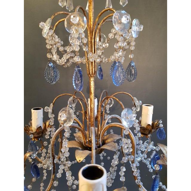 1940s Fine Beaded Blue Crystal Chandelier Antique Ceiling Lamp Lustre Art Nouveau For Sale - Image 5 of 8