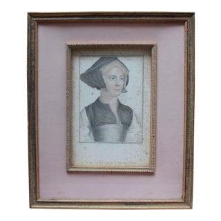 """Traditional Colored Etching Portrait Titled """"The Lady Lister"""" by Hans Halbein For Sale"""