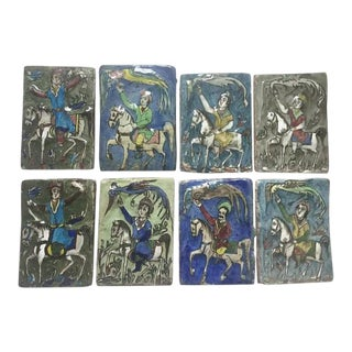 Vintage Persian Tile Collection of 8 Hand Painted 5 x 7 Tiles For Sale