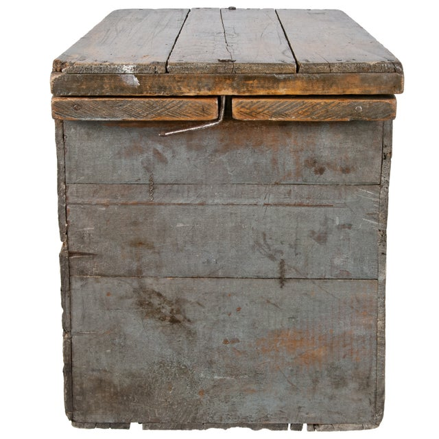 Vintage, handmade wood storage box designed to transport fresh eggs safely. Hand crafted from an old coconut butter...