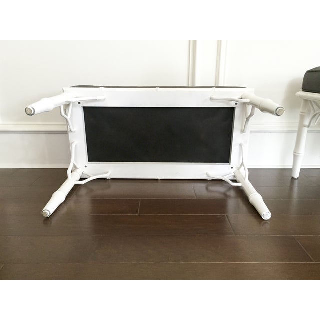 Vintage Faux Bamboo Upholstered Bench For Sale - Image 5 of 9