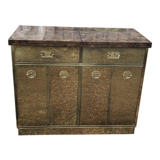 1960s Mastercraft Brass Clad Bar and Cabinet For Sale