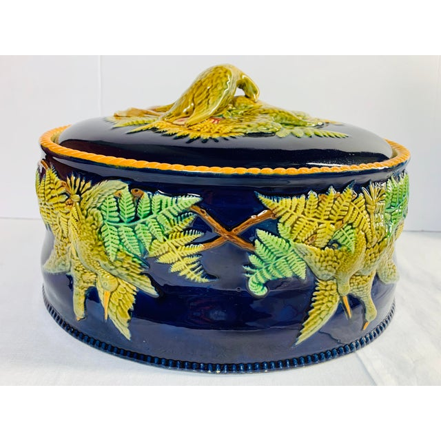 Mid 19th Century Antique Majolica Cobalt Blue Rabbit and Game Bird Tureen Dish With Lid by Brownfield For Sale - Image 11 of 11