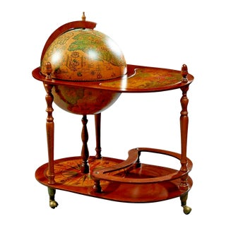 20th Century Vintage French Carved Beech Globe Bar, Serving Cart For Sale