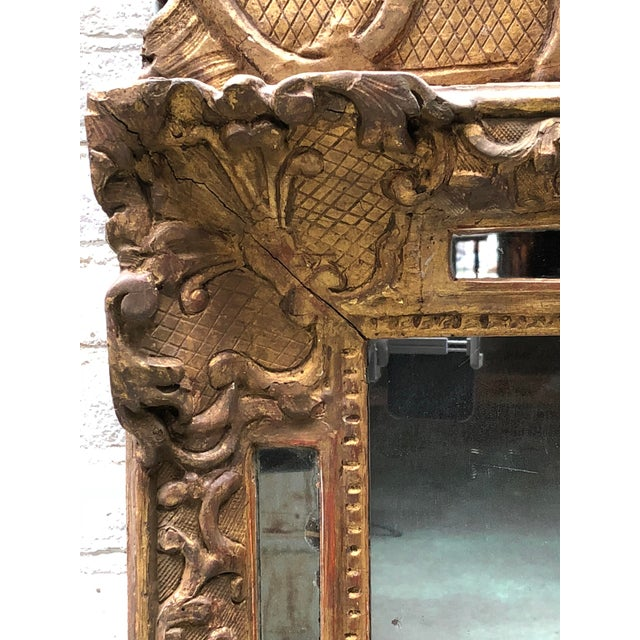 18th Century Carved Gilt Wood Louis XIV Mirror For Sale - Image 6 of 10