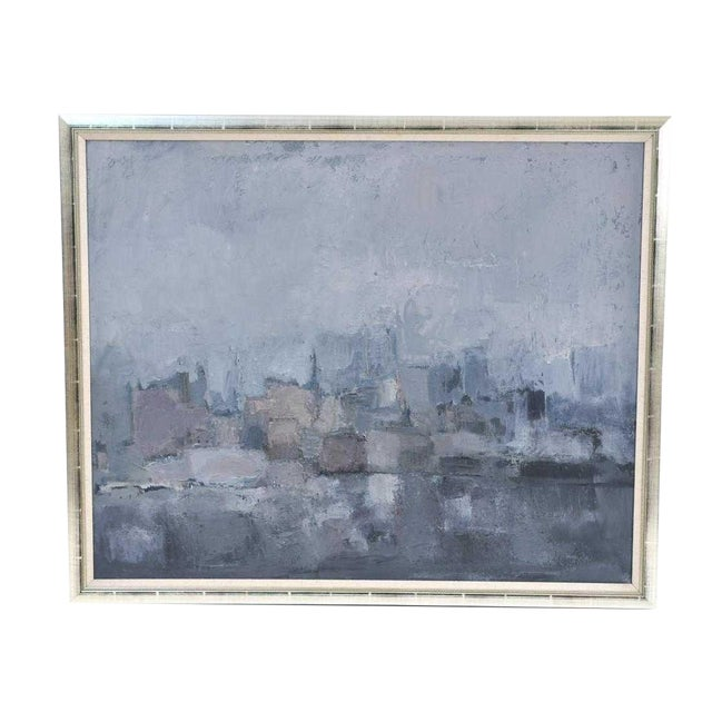 1980s Vintage Moody Painting Attributed to Spanish Artist Gloria Saez For Sale