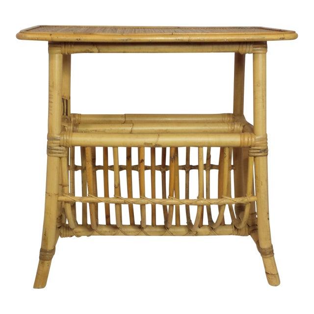 Vintage Mid Century Bamboo Rattan Magazine Rack Side Table For Sale