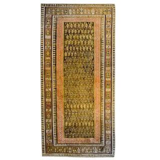 20th Century Persian Senneh Kilim Brown Paisley Runner - 4′10″ × 8′9″ For Sale