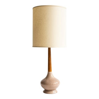 Vintage Mid-Century Teakwood & Ceramic Lamp For Sale