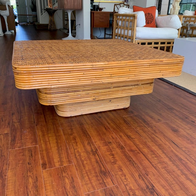 1970s Mid-Century Pencil Reed Stacked Rattan Coffee Table For Sale - Image 5 of 10