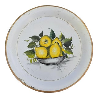 Mid Century Hand Painted Lemons Country Fruit Tole Tray For Sale